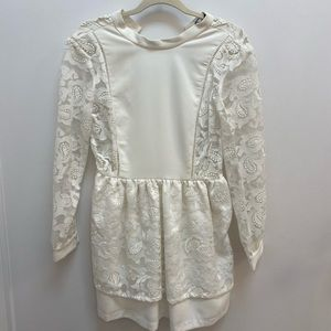 White lace a-line dress.